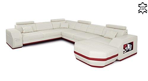 Wohnlandschaft Leder beige / braun Ledersofa Ecksofa Sofa Couch Ledercouch U-Form mit LED-Licht Designsofa FRANKFURT