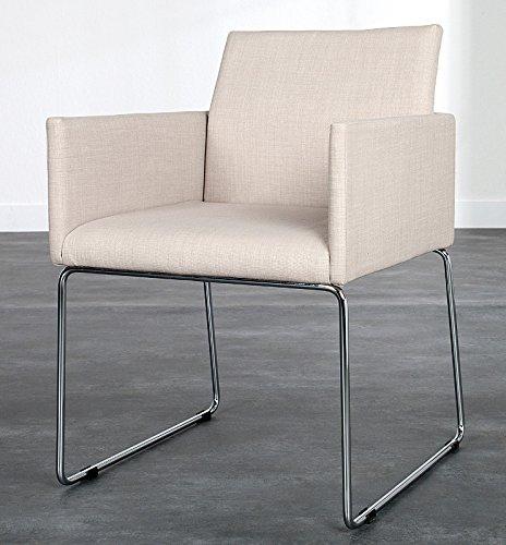 DuNord Design Stuhl Esszimmerstuhl Küchenstuhl MARCO Strukturstoff beige Design