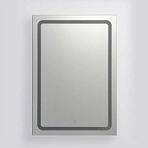 KROLLMANN Badspiegel mit satinierten Lichtflächen, LED-Beleuchtung und Touch-Sensor, 50x70cm [Energieklasse A+]