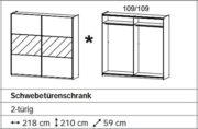 Rauch Schwebetürenschrank 2-türig alpinweiß/Glas weiß 218 x 210 x 59 cm 2