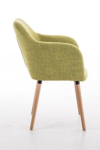 CLP Besucher Design-Stuhl PICARD, Holzgestell, Stoffbezug, gut gepolsterte Sitzfläche, modern Grün