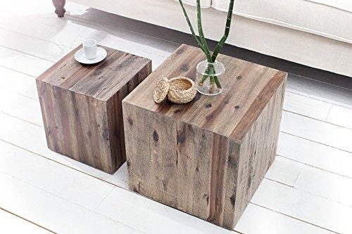 DuNord Design Beistelltisch Couchtisch CATAN 2er Design Tisch Set Treibholz Massivholz Vintage