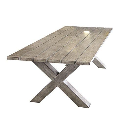 Lagerräumung - Beeindruckender Luxus Gartentisch aus Aluminium, Holzoptik, Niveauausgleich, 200x94cm