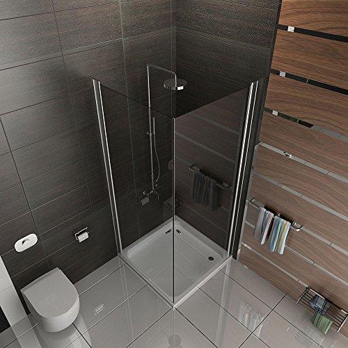 Duschkabine aus ESG Echtglas 90x90 cm mit Eckeinstieg und Hebe-Senk Mechanismus (Pendeltür) von Alpenberger