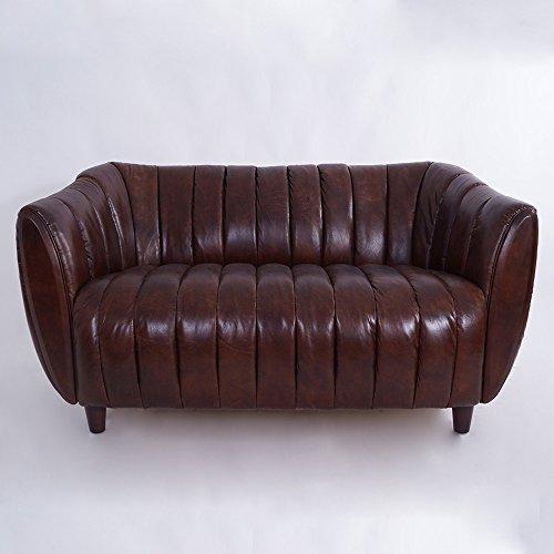 Clubsofa Juniper 2-Sitzer gerippt, Vintage Leder Ledersofa Couch Design