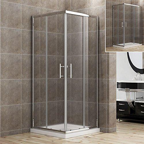 760x760x1850mm Duschkabine Eckeinstieg Doppel Schiebetür Echtglas Duschwand