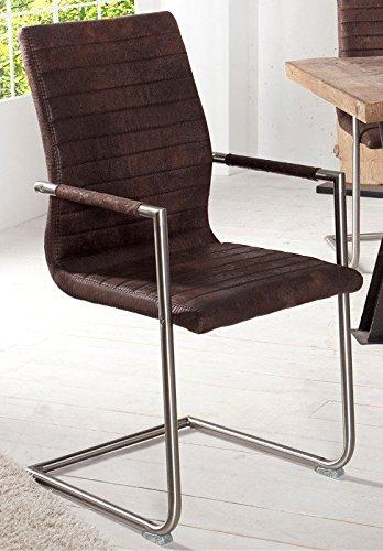 DuNord Design Stuhl Freischwinger COLUMBIA Esszimmerstuhl vintage braun Edelstahl