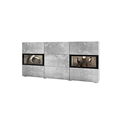 Selsey Baros - Sideboard/Kommode in Betonoptik mit LED RGB und Farbwechselfunktion 132 cm