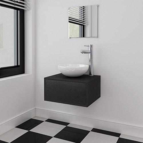 vidaXL 4-tlg. Badmöbel-Set Waschbecken Waschtisch Wasserhahn Spiegel Badezimmer