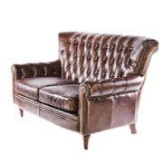 Vintage Chesterfield Sofa 2 Sitzer Ledersofa Braun Echtleder Antik Couch Design Sessel 469 1