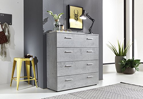 BMG Möbel Beton Schubkasten Kommode Schubladen Sideboard MARBELLA 3 in Betonoptik - Made in Germany -