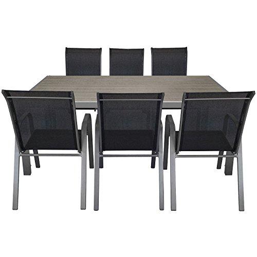 7tlg gartengarnitur aluminium polywood gartentisch 205x90cm stapelbarer gartenstuhl. Black Bedroom Furniture Sets. Home Design Ideas
