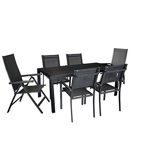 7tlg gartengarnitur gartenm bel terrassenm bel set gartentisch mit schwarzer polywood. Black Bedroom Furniture Sets. Home Design Ideas