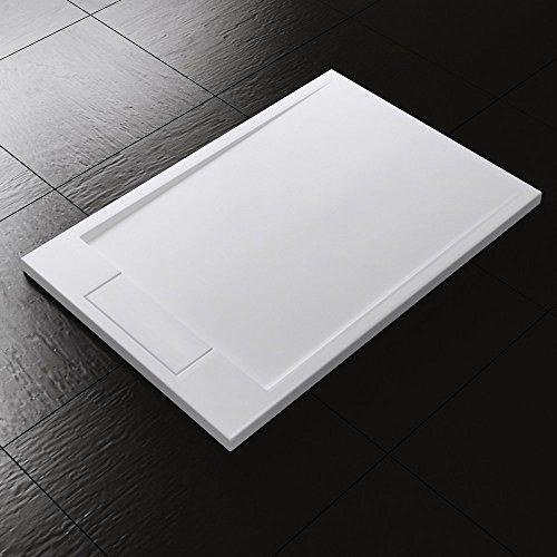 80x120x4 cm Design Duschtasse Duschwanne Geoma in Weiß, aus Mineralguss, Mineralgusswanne