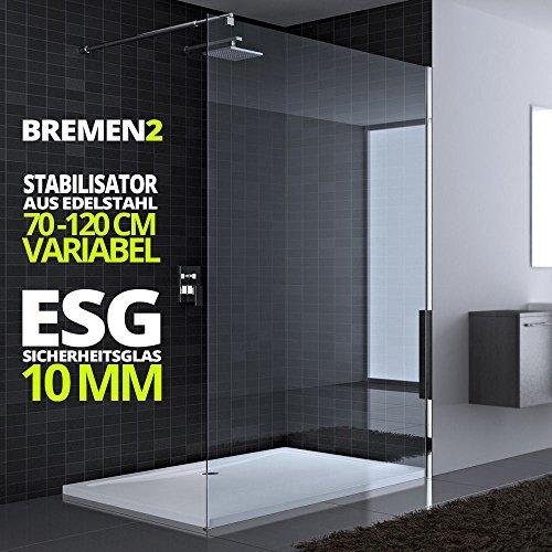 80x200 cm Luxus Duschwand aus Echtglas Bremen2K, Stabilisator 4-eckig, 10mm ESG Sicherheitsglas klarglas, inkl. Nanobeschichtung