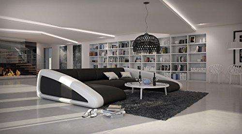 SAM® Sofa Garnitur schwarz / schwarz / weiß Wohnlandschaft, 205 x 355 x 250 cm, designed by Ricardo Paolo, futuristisch Wohnzimmer Sofa Landschaft, pflegeleichte Oberfläche [53261694]