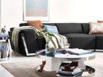 Ecksofa schwarz Leder Elma XL Couch Chrom Zierblende Polsterecke Wohnlandschaft verstellbare Kopfstützen