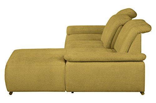 Cavadore Polsterecke Tabagos / Funktionssofa mit Longchair rechts / Modernes Sofa mit Sitztiefenverstellung/ Verstellbare Rückenlehne / 283x85x187 (B x H x T) /Farbe: Curry (gelb)