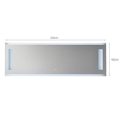 KROLLMANN Badspiegel mit Beleuchtung, modern - ohne Rahmen mit Touch Sensor, beleuchtet mit durch satinierte LED-Flächen, 120 x 40 cm [Energieklasse A+]
