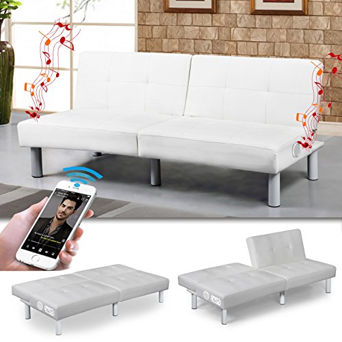 """MILANO"" Bluetooth SCHLAFSOFA WEISS BETTSOFA SCHLAFCOUCH"