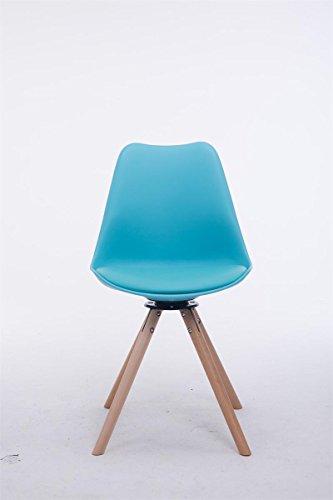CLP Design Retro-Stuhl TROYES RUND, Kunststoff-Lehne, Kunstleder-Sitz, drehbar, gepolstert Blau, Holzgestell Farbe natura, Form rund