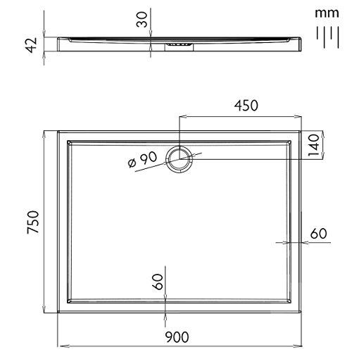 rechteck duschwanne duschtasse aquabad komplettset comfort basic 75x90cm inkl. Black Bedroom Furniture Sets. Home Design Ideas