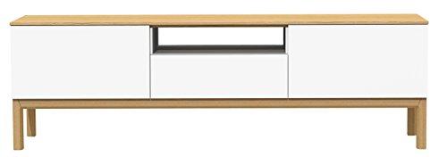 Tenzo 2273-454 Patch Designer TV-Bank, lackiert, Matt, Topplatte furniert, 56 x 179 x 47 cm, weiß / eiche