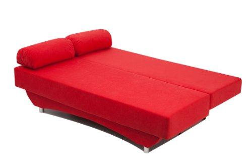 Schlafsofa Queens 186 x 80 cm, Mikrofaser, rot