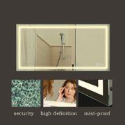 Anten 80x60cm 18W Wandmontage LED Badezimmerspiegel mit Beleuchtung Neutralweiß 4000-4500K Wandspiegel Badspiegel Eckig LED Litch, Dick:4cm [Energieklasse A+] 1