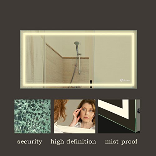 Anten 80x60cm 18W Wandmontage LED Badezimmerspiegel mit Beleuchtung Neutralweiß 4000-4500K Wandspiegel Badspiegel Eckig LED Litch, Dick:4cm [Energieklasse A+]