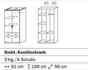 Rauch Kleiderschrank 2-türig Weiß mit Schubladen, BxHxT 91x199x56 cm 2