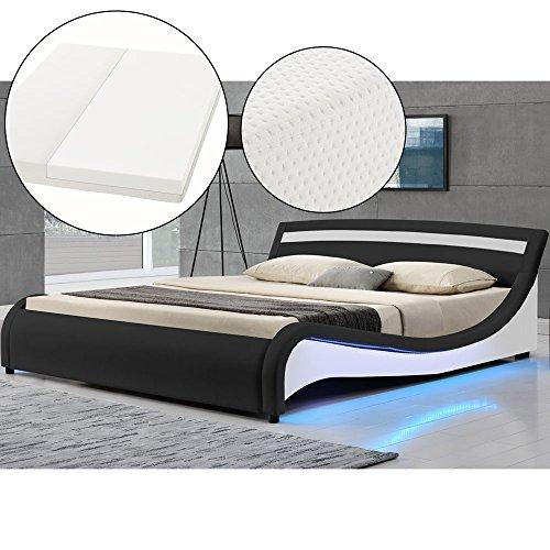 Polsterbett Malaga 140 x 200 cm LED Seitenteilen - schwarz mit Kaltschaummatratze