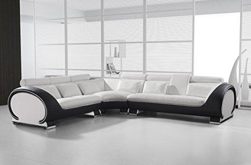 SAM® Ecksofa Vigo Combi 4 254,5 x 286,5 cm Weiß Weiß Schwarz rechts designed by Ricardo PaoloPolsterecke Wohnzimmer Couch Sofa