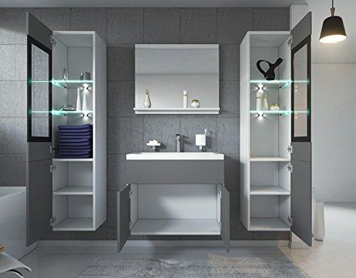 Badezimmer Badmöbel Rio XL LED 60 cm Waschbecken Hochglanz Grau Fronten - Unterschrank 2x Hochschrank Waschtisch Möbel