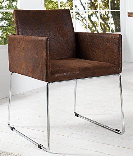 DuNord Design Stuhl Esszimmerstuhl 2er Set MARCO Microfaser antik braun Vintage Design Küchenstuhl
