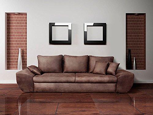 Big Sofa mit Schlaffunktion und Bettkasten im Vintage Look braun . Rückenecht bezogen mit Wellenfederpolsterung, Maße: B/H/T ca. 272/90/96 cm