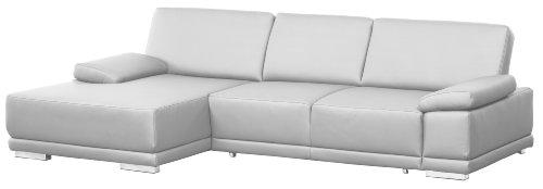 Lederecke Corianne/Longchair-3er Bett/282x80x162 cm/Leder Punch reinweiss-poroflex softy reinweiss