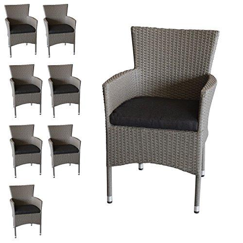 8x-Polyrattan-Sessel-stapelbar-Rattansessel-grau-meliert-inklusive-schwarzen-Sitzkissen-Gartensessel-Stapelstuhl-Gartenstuhl-Rattanstuhl-Rattansessel-Terrassenmbel-Balkonmbel-Gartenmbel-0