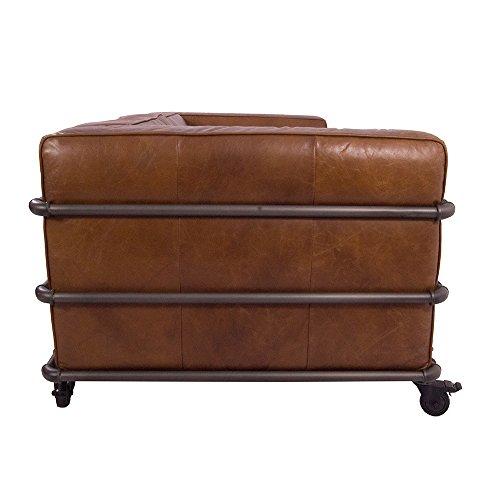 Design Clubsofa Wakefield 2,5-Sitzer Cuba Braun Aluminium-Rohr Sofa Loungesofa Ledersofa