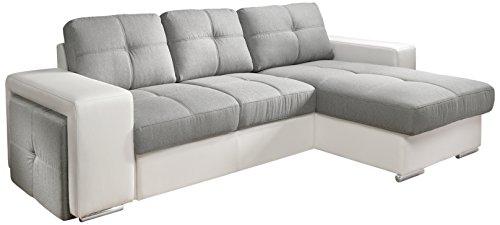 Cotta C209660 C311/H350 Polsterecke mit Schlaffunktion und Bettkasten, 278 x 157 cm, Kunstleder weiß mit Strukturstoff grau