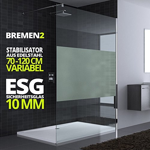 90x200 cm Luxus Duschwand aus Echtglas Bremen2MS, Stabilisator rund, 10mm ESG Sicherheitsglas Milchglas-Streifen, inkl. Nanobeschichtung