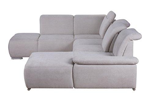 Cavadore Wohnlandschaft Tabagos / U-Form mit Ottomane links / XXL Sofa mit Sitztiefenverstellung / Kopfteilverstellung / Armteilverstellung / 364 x 85-96 x 248 (B x H x T) / Farbe: Grau/Weiß