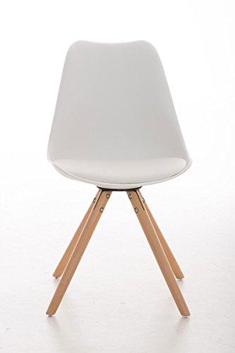 CLP Design Retro Stuhl PEGLEG, Schalenstuhl Sitzhöhe 46 cm, gepolstert, Sitz Kunststoff / Kunstleder Weiß, Holzgestell natura