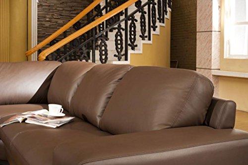 Design Voll-Leder Ledergarnitur Ledersofa Ecksofa-Sofa-Garnitur-Eckgruppe 5010-R-braun