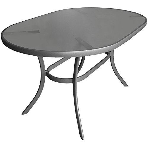 Aluminium Gartentisch Glastisch 140x90cm oval Beistelltisch Terrassentisch
