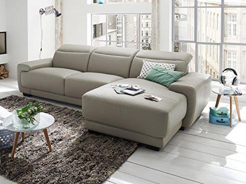 wohnlandschaft leder hellgrau nelson teilleder ledersofa polsterecke l form ecksofa m bel24. Black Bedroom Furniture Sets. Home Design Ideas