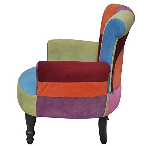 vidaXL Stuhlsessel Sessel Stuhl Retrostil Patchwork bunt Armlehnenstuhl Sofa