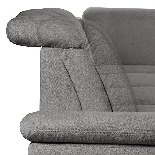 Cavadore Polsterecke Tabagos / Eckcouch mit Ottomane links / Moderne Couch mit Sitztiefenverstellung/ Kopfteilverstellung / 283x85-96x248 (B x H x T) / Farbe: Fango (grau)