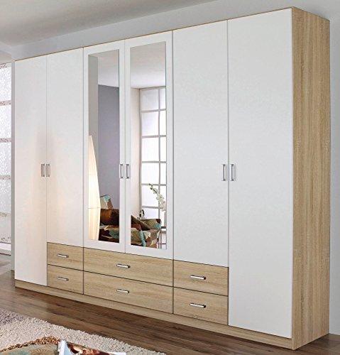 Rauch Kleiderschrank 6-türig, 2 Spiegeltüren, 6 Schubkästen, Eiche sonoma-alpinweiß++LAGERWARE++SOFORT LIEFERBAR++