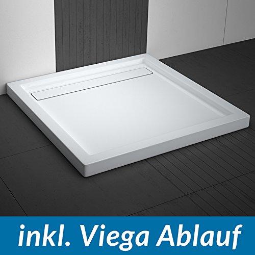 AQUABAD® Duschwanne Comfort Linea Flat 100x100cm Quadrat inkl. Viega Domoplex Ablauf senkrecht